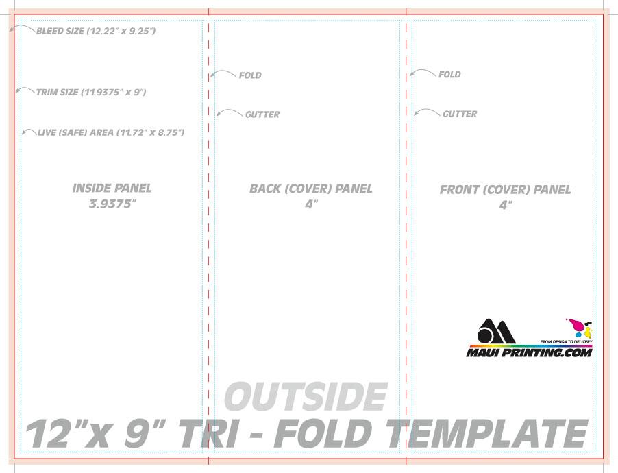 Maui Printing Company Inc X Roll Fold Brochure Template - 3 panel brochure template