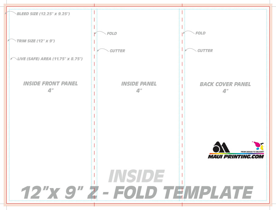Maui printing company inc 12 x 9 z fold brochure template for Brochure size template