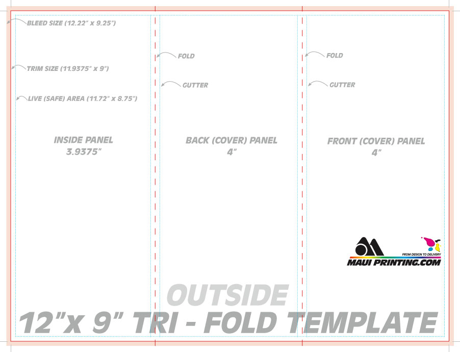 Maui Printing Company Inc X Roll Fold Brochure Template - Foldable brochure template