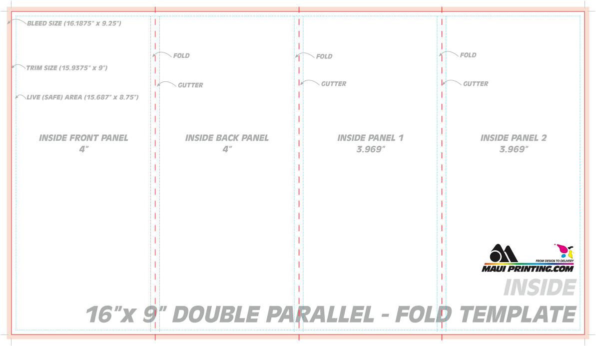 Maui Printing Company Inc X Double Parallel Fold Brochure - Double parallel fold brochure template