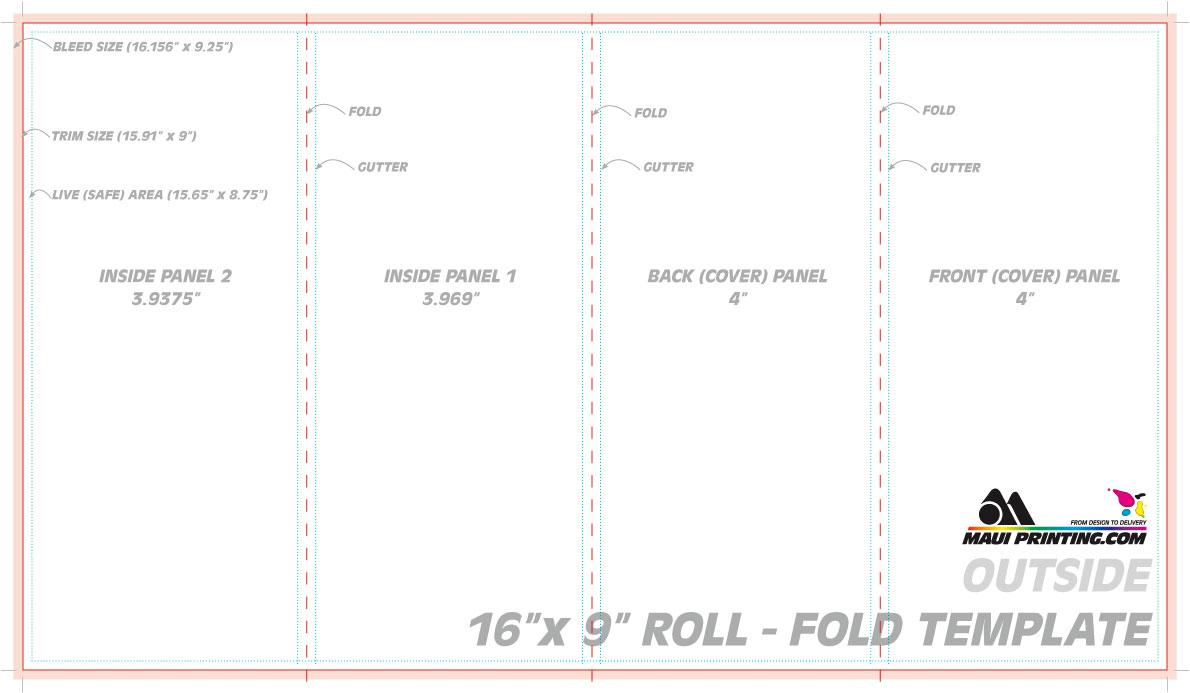 16 x 9 roll fold brochure